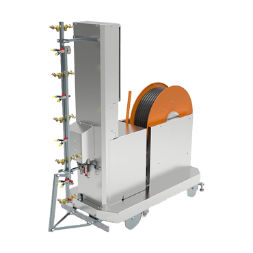 automated spraying machine with hose reel
